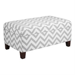 Dorel Living Chevron Storage Ottoman in White and Gray