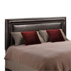 Dorel Living Faux Leather Upholstered Full Queen Headboard in Espresso