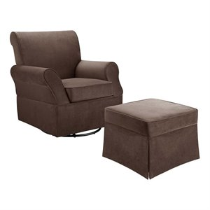 Swivel Glider and Ottoman in Comet Coffee