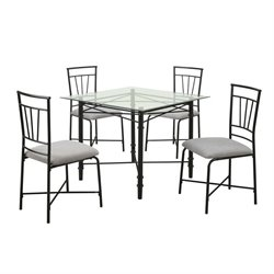 Dorel Living 5 Piece Delphine Square Glass Top Dining Set in Black