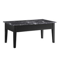 Faux Marble Lift Top Coffee Table in Black