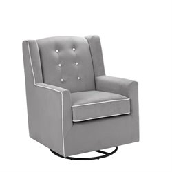 Baby Relax Emmett Tufted Swivel Glider in Graphite Gray
