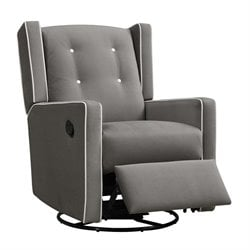 Upholstered Swivel Gliding Recliner in Dark Gray