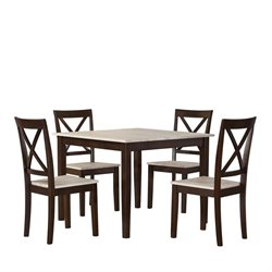 Dorel Living Sunnybrook Rustic 5 Piece Square Dining Set in Espresso