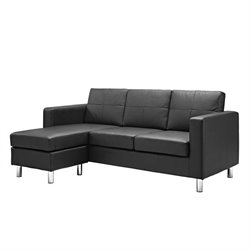 Dorel Living Small Spaces Adjustable Sectional Sofa in Black