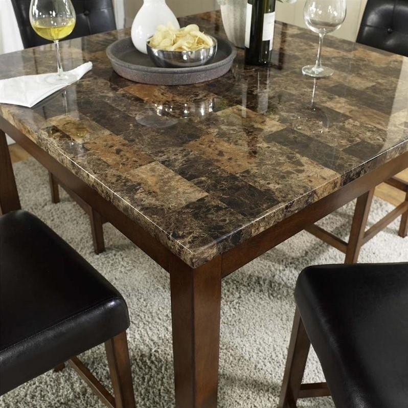 5 Piece Faux Marble Top Counter Height Dining Set Da7241