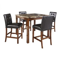 Dorel Living Andover 5 Piece Faux Marble Top Counter Height Dining Set
