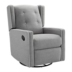 Baby Relax Mikayla Upholstered Swivel Gliding Recliner in Light Gray