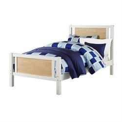 Twin Bed in Two Toned White and Wheat
