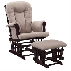 Baby Relax Glider Rocking Chair and Ottoman Set in Espresso and Gray