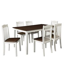 Dorel Living Shiloh 5 Piece Dining Set in Grain and White