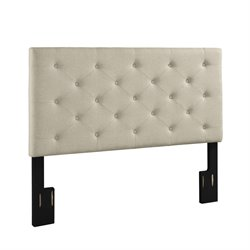Dorel Living Upholstered Full Queen Headboard in Beige