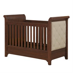 Monbebe Thatcher 3 in 1 Upholstered Crib in Dark Walnut