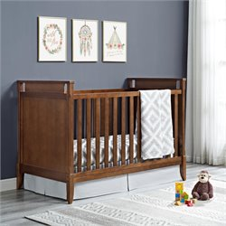 2 in 1 Convertible Crib in Walnut