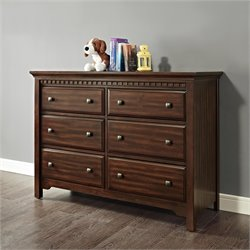 Dorel Living Auburn 6 Drawer Dresser in Chestnut
