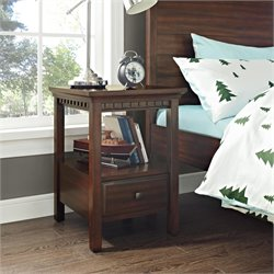 Dorel Living Auburn Nightstand in Dark Chestnut