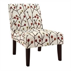 Dorel Living Accent Slipper Chair in Ivory Floral Pattern