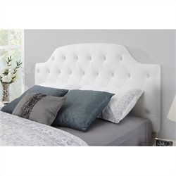 Dorel Living White Button Tufted Faux Leather Headboard