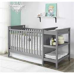 Baby Relax Emma 2-in-1 Convertible Crib and Changing Table Combo Set in Gray