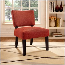 Dorel Asia Living Linen Open Back Accent Chair in Red Rust