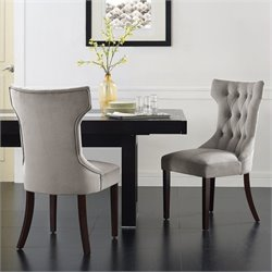 Dorel Living Clairborne Tufted Dining Chair in Taupe (Set of 2)