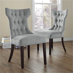 Dorel Living Clairborne Tufted Dining Chair in Gray (Set of 2)