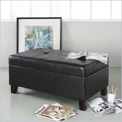 Dorel Asia Living Rectangular Faux Leather Storage Ottoman in Black