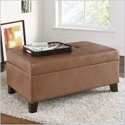 Dorel Asia Living Rectangular Faux Leather Storage Ottoman in Camel