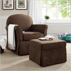 Baby Relax Swivel Glider and Ottoman Set in Dark Brown
