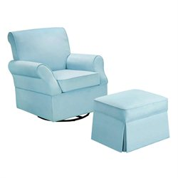 Dorel Living Kelcie Swivel Glider and Ottoman in Blue
