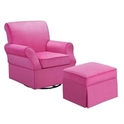 Dorel Living Kelcie Swivel Glider and Ottoman in Pink