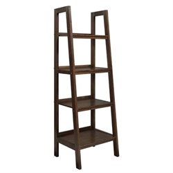 Simpli Home Sawhorse Ladder Shelf in Saddle Brown