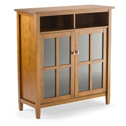 Simpli Home Warm Shaker Storage Media Cabinet in Honey Brown