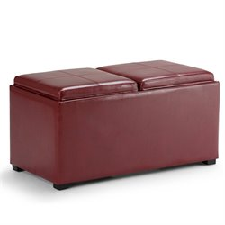 Simpli Home Avalon 3 Piece Faux Leather Storage Ottoman in Red