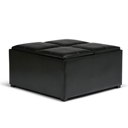 Simpli Home Avalon Faux Leather Coffee Table Storage Ottoman in Black