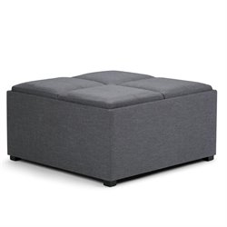 Simpli Home Avalon Coffee Table Storage Ottoman in Gray