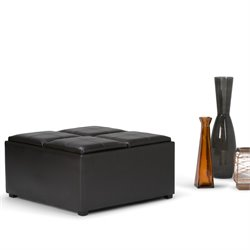 Faux Leather Coffee Table Storage Ottoman in Brown
