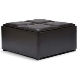 Simpli Home Avalon Faux Leather Coffee Table Storage Ottoman in Brown