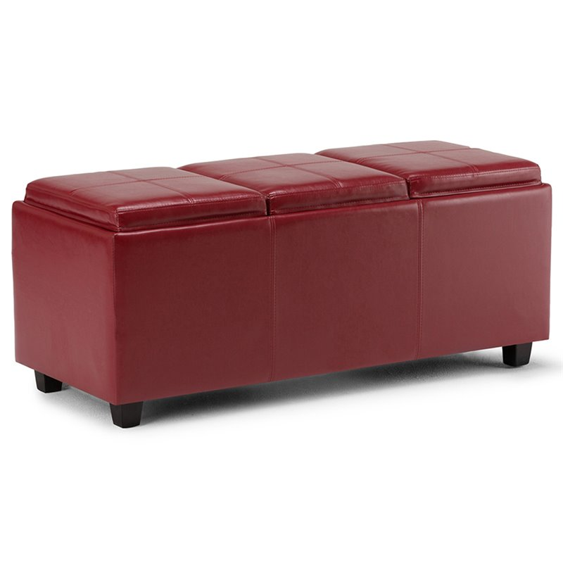 Faux Leather Storage Bench In Red 3axcava Ottbnch 02 Rd