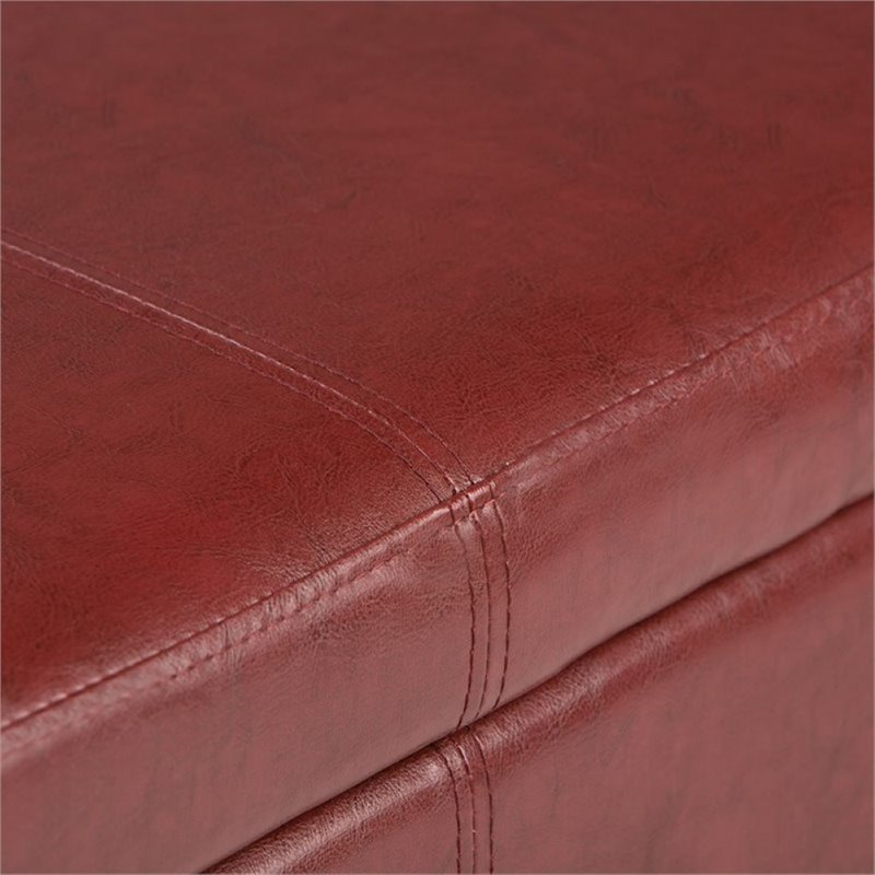 Simpli Home Avalon Faux Leather Storage Bench in Red