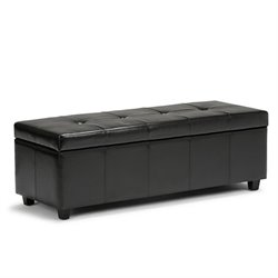 Simpli Home Castleford Storage Bench in Black