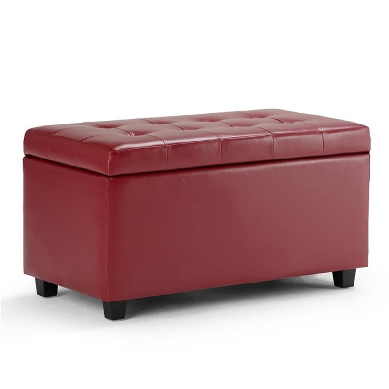 Faux Leather Storage Bench In Red Ay S 38 Rd