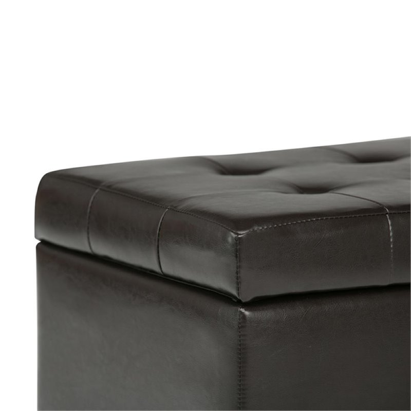 Simpli Home Cosmopolitan Faux Leather Storage Bench in Brown