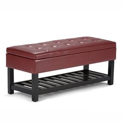 Simpli Home Cosmopolitan Faux Leather Storage Bench in Radicchio Red