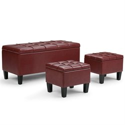 Simpli Home Dover 3 Piece Faux Leather Storage Ottoman in Red