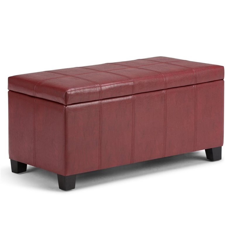 Faux Leather Storage Bench In Radicchio Red Axcot 223 Rrd