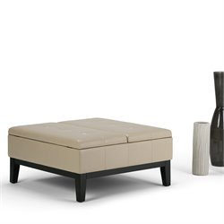 Faux Leather Coffee Table Storage Ottoman in Cream