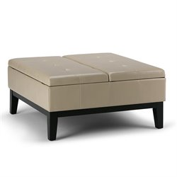 Simpli Home Dover Faux Leather Coffee Table Storage Ottoman in Cream