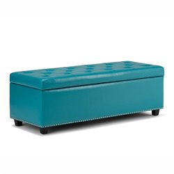 Simpli Home Hamilton Storage Bench in Mediterranean Blue