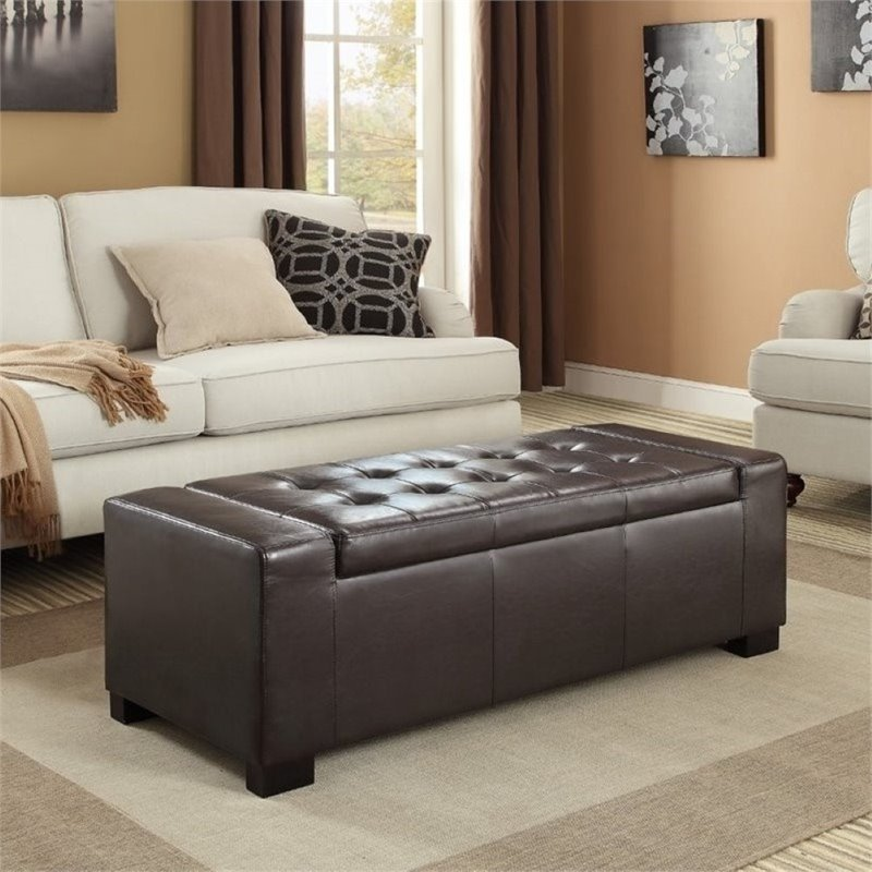 Faux Leather Storage Bench In Brown 3axc Ott231